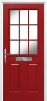 2 Panel 1 Grill Composite Front Door in Red