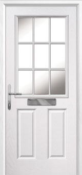 2 Panel 1 Grill Composite Front Door in White