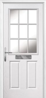 2 Panel 1 Grill Composite Front Door in White