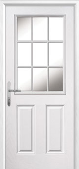 2 Panel 1 Grill Composite Back Door in White