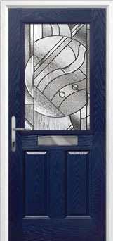 2 Panel 1 Square Abstract Composite Front Door in Blue