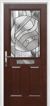 2 Panel 1 Square Abstract Composite Front Door in Darkwood