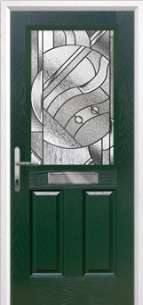 2 Panel 1 Square Abstract Composite Front Door in Green