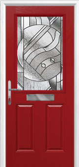 2 Panel 1 Square Abstract Composite Front Door in Red
