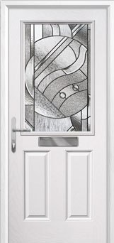 2 Panel 1 Square Abstract Composite Front Door in White