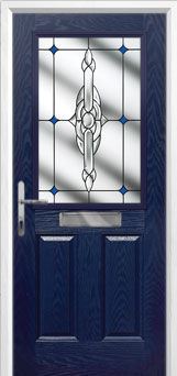 2 Panel 1 Square Crystal Bohemia Composite Front Door in Blue
