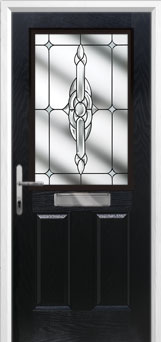 2 Panel 1 Square Crystal Bohemia Composite Front Door in Black