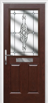 2 Panel 1 Square Crystal Bohemia Composite Front Door in Darkwood
