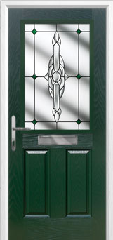 2 Panel 1 Square Crystal Bohemia Composite Front Door in Green