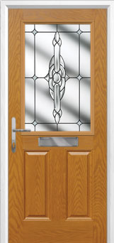 2 Panel 1 Square Crystal Bohemia Composite Front Door in Oak