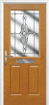 2 Panel 1 Square Crystal Bohemia Composite Front Door in Oak