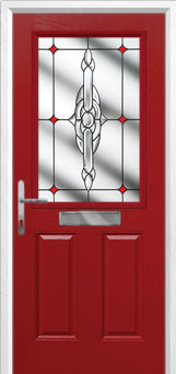 2 Panel 1 Square Crystal Bohemia Composite Front Door in Red