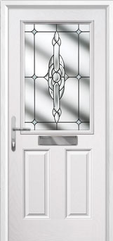 2 Panel 1 Square Crystal Bohemia Composite Front Door in White