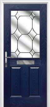2 Panel 1 Square Crystal Diamond Composite Front Door in Blue