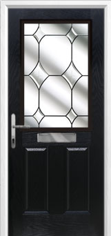 2 Panel 1 Square Crystal Diamond Composite Front Door in Black