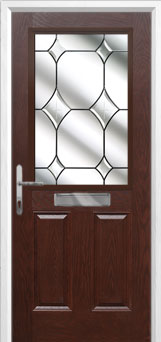 2 Panel 1 Square Crystal Diamond Composite Front Door in Darkwood