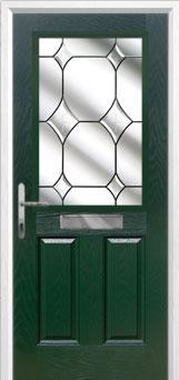 2 Panel 1 Square Crystal Diamond Composite Front Door in Green