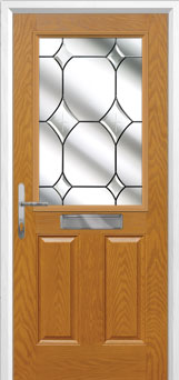 2 Panel 1 Square Crystal Diamond Composite Front Door in Oak