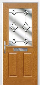 2 Panel 1 Square Crystal Diamond Composite Front Door in Oak