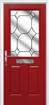 2 Panel 1 Square Crystal Diamond Composite Front Door in Red