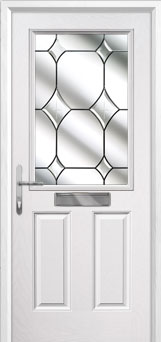 2 Panel 1 Square Crystal Diamond Composite Front Door in White