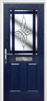 2 Panel 1 Square Crystal Harmony Composite Front Door in Blue