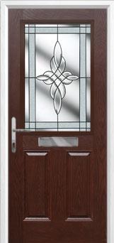2 Panel 1 Square Crystal Harmony Composite Front Door in Darkwood