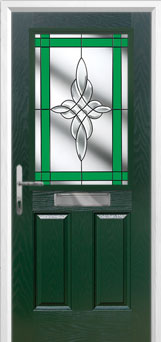 2 Panel 1 Square Crystal Harmony Composite Front Door in Green