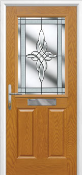 2 Panel 1 Square Crystal Harmony Composite Front Door in Oak