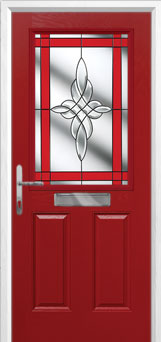2 Panel 1 Square Crystal Harmony Composite Front Door in Red