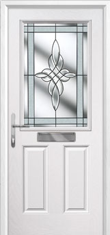2 Panel 1 Square Crystal Harmony Composite Front Door in White