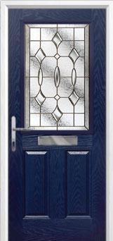2 Panel 1 Square Brass Art Clarity Composite Front Door in Blue