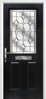 2 Panel 1 Square Brass Art Clarity Composite Front Door in Black
