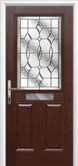 2 Panel 1 Square Brass Art Clarity Composite Front Door in Darkwood