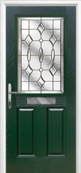2 Panel 1 Square Brass Art Clarity Composite Front Door in Green