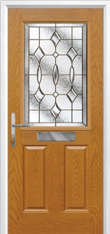 2 Panel 1 Square Brass Art Clarity Composite Front Door in Oak
