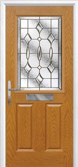 2 Panel 1 Square Brass Art Clarity Composite Front Door in Oak