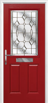 2 Panel 1 Square Brass Art Clarity Composite Front Door in Red