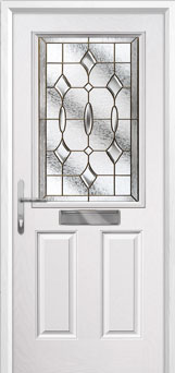 2 Panel 1 Square Brass Art Clarity Composite Front Door in White