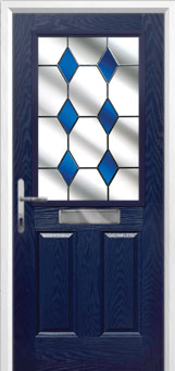 2 Panel 1 Square Drop Diamond Composite Front Door in Blue
