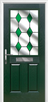 2 Panel 1 Square Drop Diamond Composite Front Door in Green