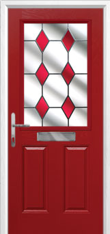 2 Panel 1 Square Drop Diamond Composite Front Door in Red