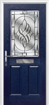2 Panel 1 Square Elegance Composite Front Door in Blue