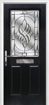 2 Panel 1 Square Elegance Composite Front Door in Black