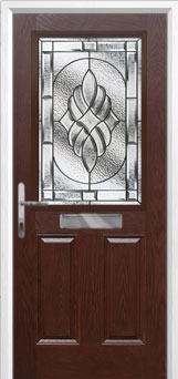 2 Panel 1 Square Elegance Composite Front Door in Darkwood