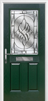 2 Panel 1 Square Elegance Composite Front Door in Green