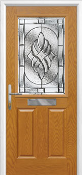 2 Panel 1 Square Elegance Composite Front Door in Oak