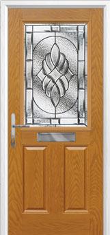 2 Panel 1 Square Elegance Composite Front Door in Oak