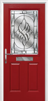 2 Panel 1 Square Elegance Composite Front Door in Red