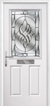 2 Panel 1 Square Elegance Composite Front Door in White